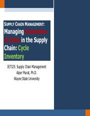Chapter 11.1 - Managing Economies of Scale in the Supply Chain -- Cycle Inventory