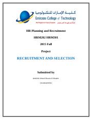 HR Planning and Recruitment - HRM202 HRM301 - 2015 Fall
