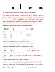 1.5.1-QUANTUM NUMBERS WORKSHEET KEY.doc - l n ml ms 1 State the four ...