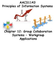 Chapter 12 Group Collaboration Systems - Workgroup Applications - Students 201516