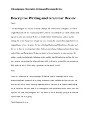 Descriptive Writing and Grammar Review week 2 english