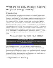 What are the likely effects of fracking on global energy security