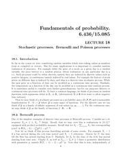 Stochastic processes, Bernoulli and Poisson processes notes