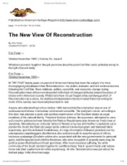 The New View Of Reconstruction
