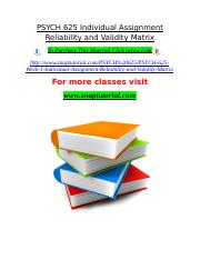 PSYCH 625 Individual Assignment Reliability and Validity Matrix.doc