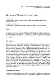 Elements of Mortgage Securitization by Alan C. Hess and Clifford W. Smith