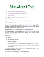 Salem Witch Trial Lecture Notes