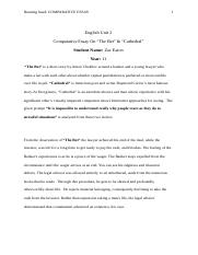 "Comparative Essay On ""The Bet"" & ""Cathedral"".docx"