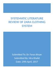 Systematic Literature Review of Zara Clothing System print