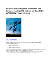 Exam Test Bank manual pdf for Managerial Economics and Business Strategy 8th Edition by Baye ISBN 00
