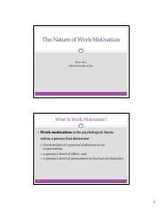 Chapter 6 - The Nature of Work Motivation