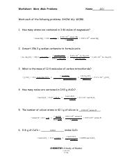 MOLE PROBLEMS ANSWERS - Worksheet Mole Problems Name KEY ...