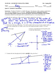Quiz 4 Solution on Geometry for K-8 Teachers