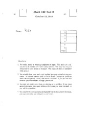 Math 122 Test 2 Fall 2010 Answers