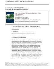 Pancer Citizenship and Civic Engagement An Introduction