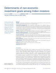 Determinants of non-economic investment goals among Indian investors