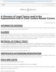 A Glossary of Legal Terms used in the impeachment trial of Chief Justice Renato Corona  Official Gaz