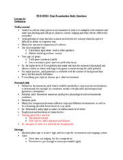PLB143 Final Study Guide