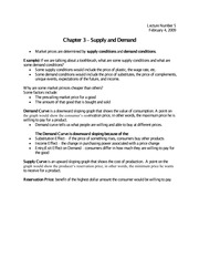 Supply and demand notes