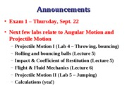 ESS 3301 Lec 5 - Projectile Motion 1 - Roll Spin Bounce and Impact