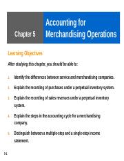 Ch 5 Acct for Merchandising Operation