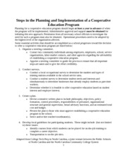 Steps in Planning and Implementation of a Cooperative Education Program