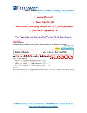 2017 PassLeader 70-486 Dumps with VCE and PDF (Question 91 - Question 120)