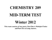 Chemistry Midterm with Solutions: 2012