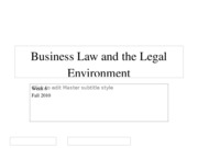 Fall 2010 Business Law and the Legal Environment - Week 6