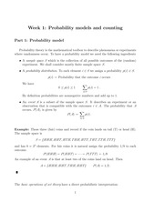 Week 1 Probability models and counting