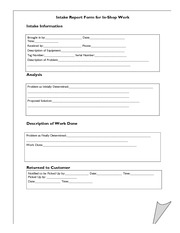 Intake Report Form form