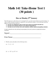 Math 141 take home test 1 questions Winter 2014