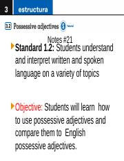 Notes #21 Possessive Adjectives Text Slides
