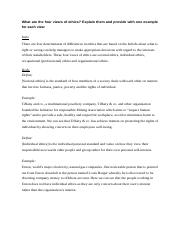 Ethics, Four views of the Code of ethics.docx