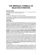 Expt 3 - The Empirical Formula of Selected Hydrates - FA 2009