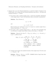 Estimators, Estimates, and Sampling Distributions Example Problems Solutions