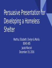 persuasive presentation for developing a homeless shelter