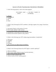 Intro to Metabolism MCQ Answers Winter 2015 2