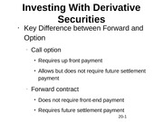 Investing With Derivative Securities