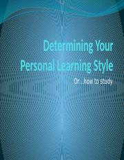 Determining Your Personal Learning Style.pptx