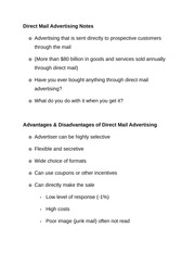 Direct Mail Advertising Notes
