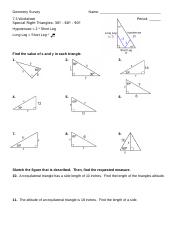 Special Right Triangle II 30-60-90 3-12 - Geometry Survey Name 7.3 ...
