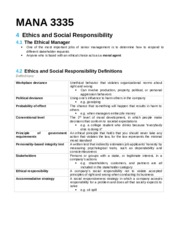 MANA 3335 Chapter 4 Ethics and Social Responsibility Notes.docx