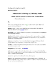 Literary Terms and their Meaning (resource)