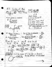 MAT 241 - Notes 8.3 Center of Mass