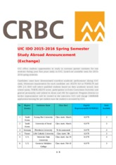 2015-2016 Spring Semester Exchange Announcement