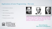 Application of Linear Programming-Part one