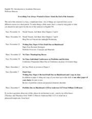 701 End-of-Semester Schedule