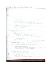 Criminal Justice- Class Notes - Assault relating to Homicide