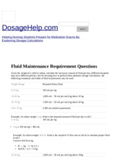 DosageHelp_com - Helping Nursing Students Learn Dosage Calculations - Fluid Maintenance Requirement